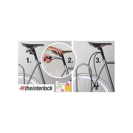 Tija de sillin Bici Interlock con candado 25,4mm 300mm Negra - Bicycle lock